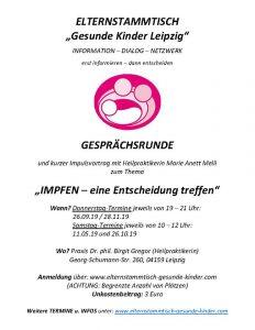 """Elternstammtisch """"Gesunde Kinder Leipzig"""" Gesprächsrunde"""