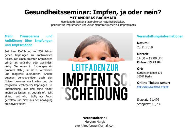 23.11.19 Berlin: Seminar Impfen, ja oder nein?