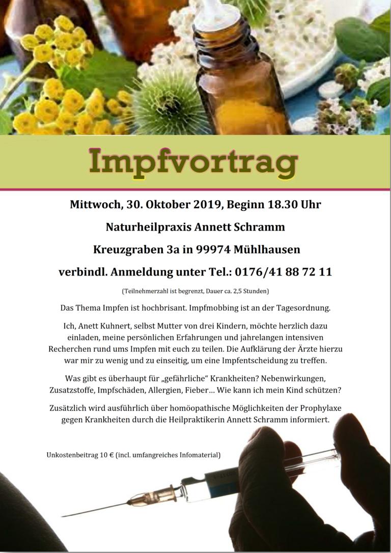30.10.19 Mühlhausen: Impfkritischer Vortrag