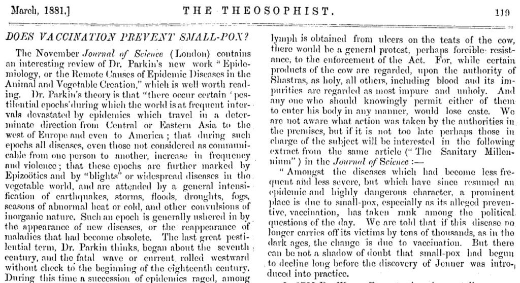 Foto: Ausriß des Artikel. Theosophist, public domain.