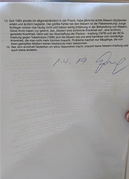 Dr. F. Graf: Einwände gegen Impfpflicht